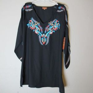 Scully Cold shoulder embroidered Feather Tunic